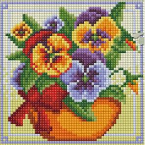 Виола в горшочке Алмазная вышивка мозаика АЖ-1636
