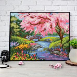 Сакура на берегу Алмазная вышивка мозаика АЖ-1651