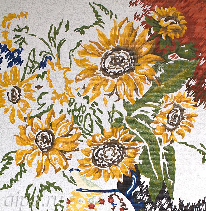 Раскладка картины Натюрморт с подсолнухами Раскраска по номерам акриловыми красками Schipper
