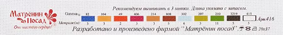Ключ - рекомендуемый набор ниток мулине Gamma к набору 0416 Корзина с ромашками