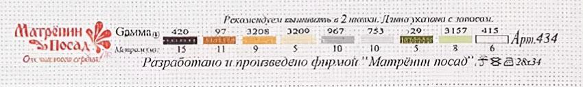 Ключ - рекомендуемый набор ниток мулине Gamma к канве 0434-1 Туранский тигр