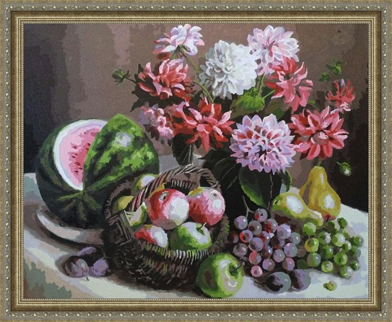 Картина Георгины и фрукты в рамке N133