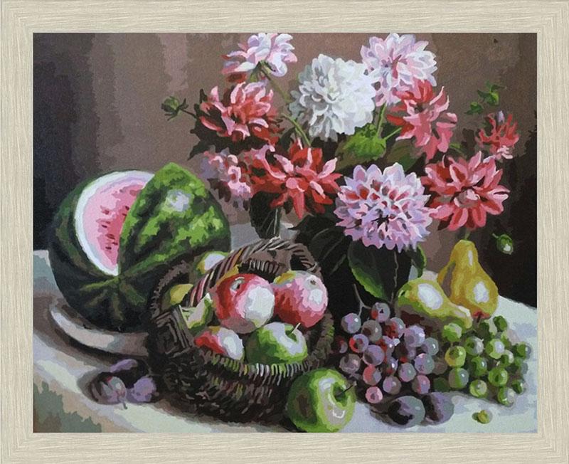 Картина Георгины и фрукты в рамке N166 Речной перламутр