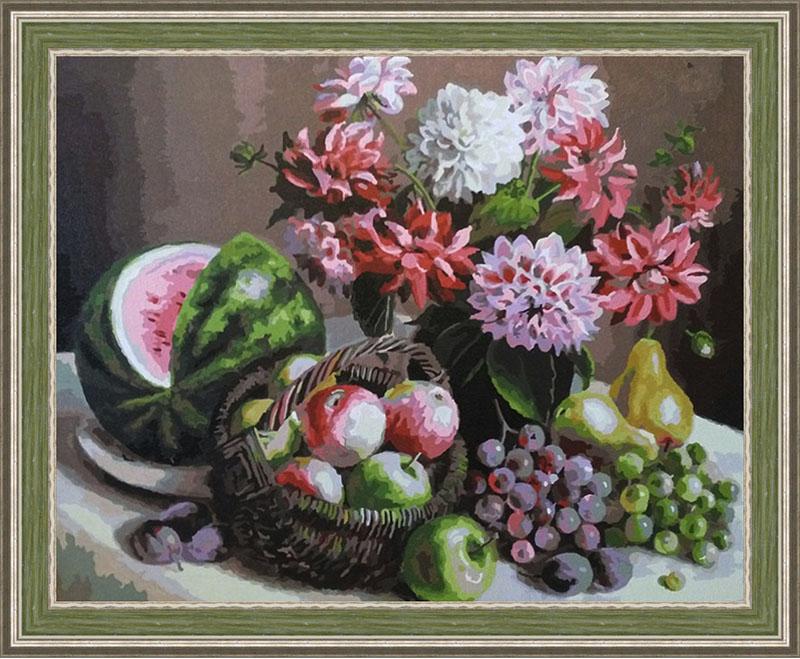 Раскраска Георгины и фрукты 172-AB в рамке N183