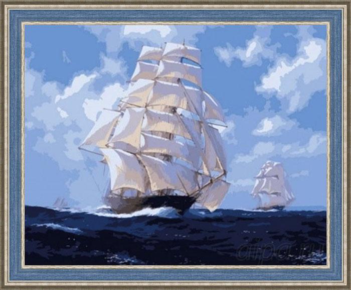 Картина По волнам в голубой широкой рамке
