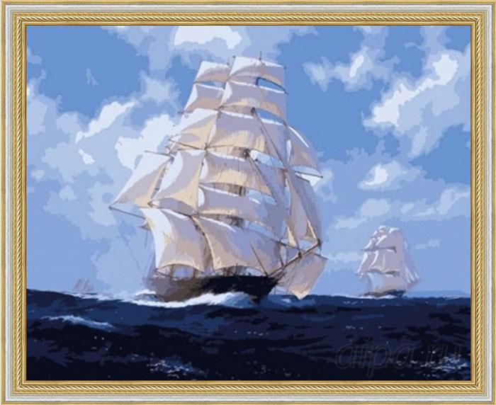 Раскраска По волнам в рамке N118 Серебро с декоративной золотой полоской