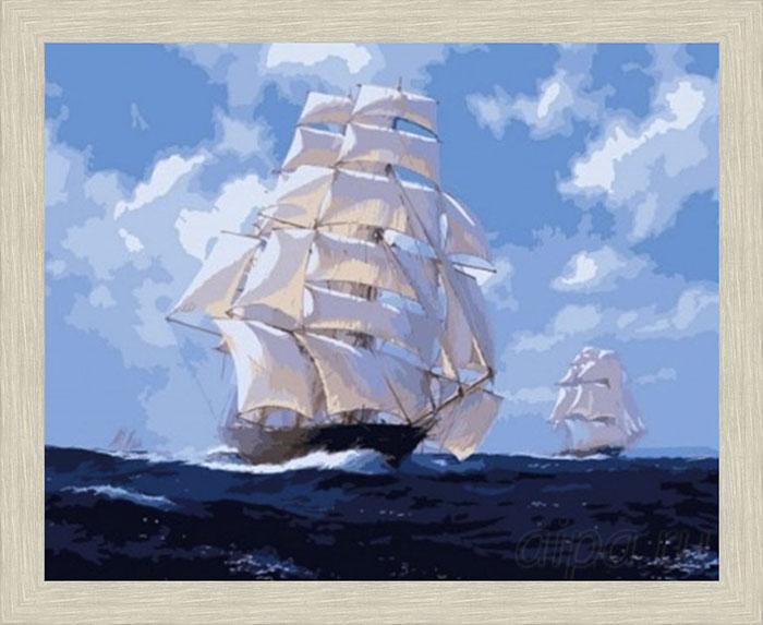 Картина По волнам в рамке N166 Речной перламутр